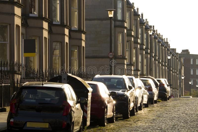 Victorian colony homes made of sandstone in Edinburgh, Scotland. Picture at Comely Bank Ave. Comely Bank is an area of Edinburgh, the capital of Scotland. It stock image