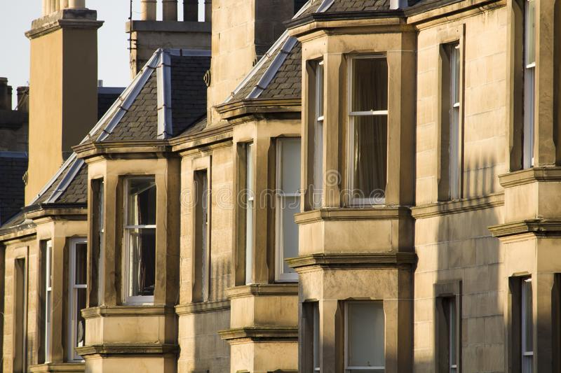Victorian colony homes made of sandstone in Edinburgh, Scotland. Picture at Comely Bank Ave. Comely Bank is an area of Edinburgh, the capital of Scotland. It royalty free stock images