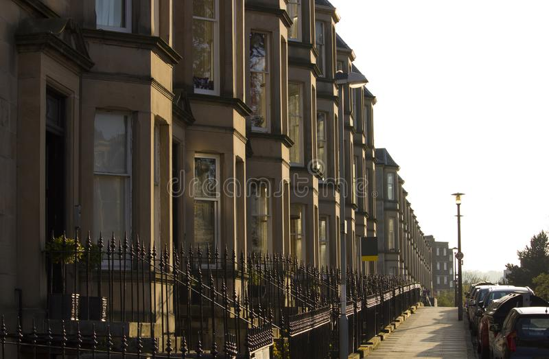 Victorian colony homes made of sandstone in Edinburgh, Scotland. Picture at Comely Bank Ave. Comely Bank is an area of Edinburgh, the capital of Scotland. It stock images