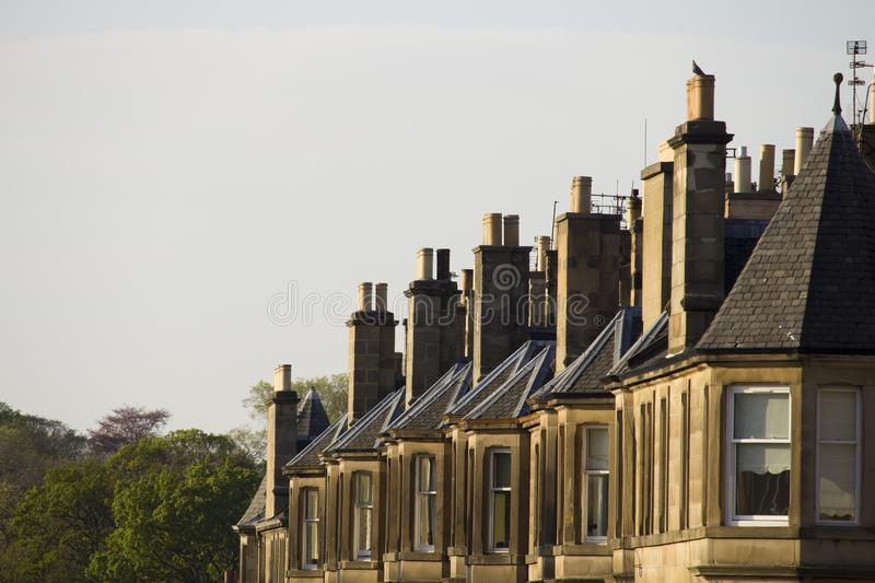 Victorian colony homes made of sandstone in Edinburgh, Scotland. Picture at Comely Bank Ave. Comely Bank which is an area of Edinburgh, the capital of Scotland stock photos