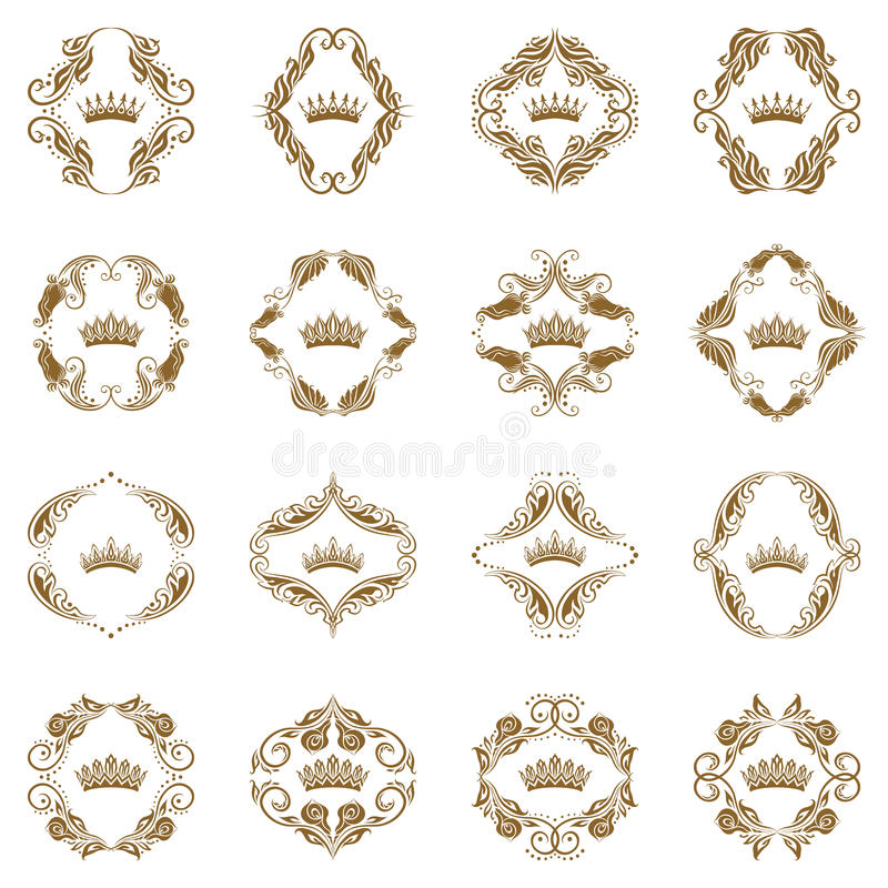 Victorian crown and decorative elements. vector illustration