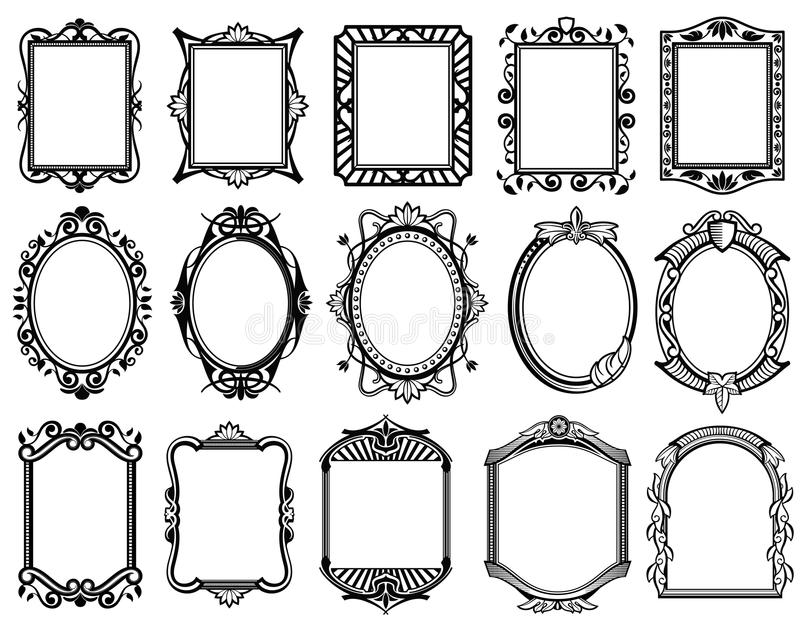 Victorian de vintage, le baroque, cadre rococo pour le miroir, menu, collection de vecteur de design de carte illustration de vecteur