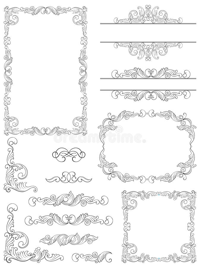 Download Victorian design elements stock vector. Image of floral - 28354534