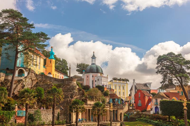 Italianate architecture of the Portmeirion Village in Wales. Victorian details at the popular tourist resort of Portmeirion, North Wales, UK, the Italianate royalty free stock photo