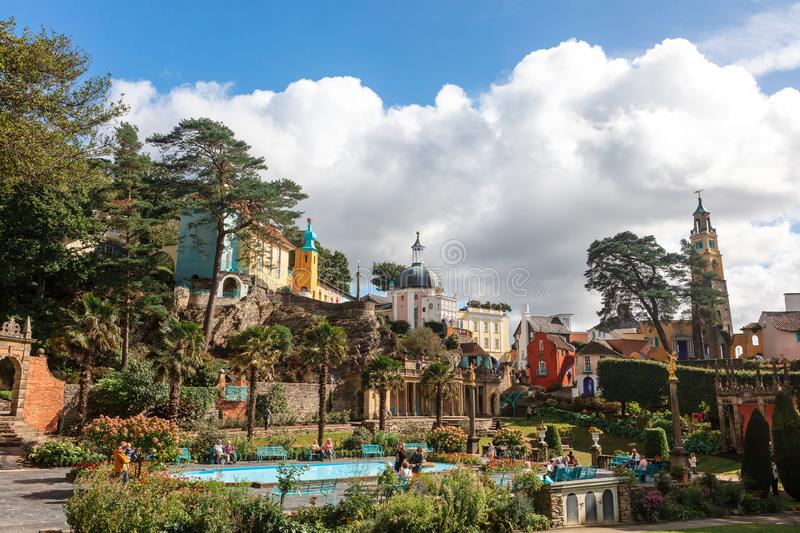 Italianate architecture of the Portmeirion Village in Wales. Victorian details at the popular tourist resort of Portmeirion, North Wales, UK, the Italianate royalty free stock photos