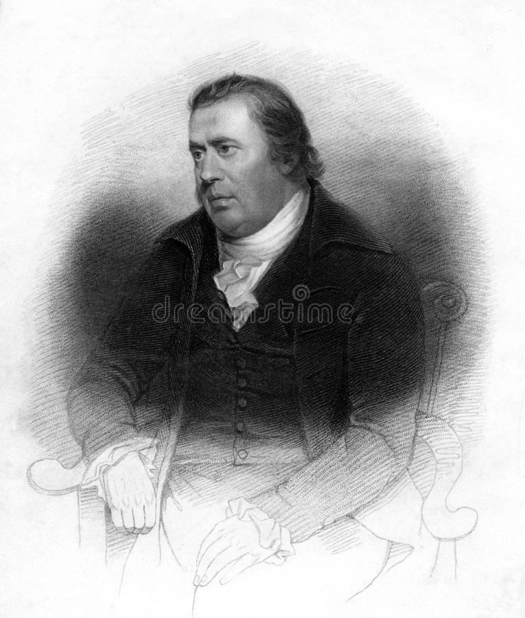 Portrait of a Scottish Publisher. Victorian engraving of William Smellie, Scottish publisher and scientist, compiler of the eighteenth century  first edition of royalty free illustration