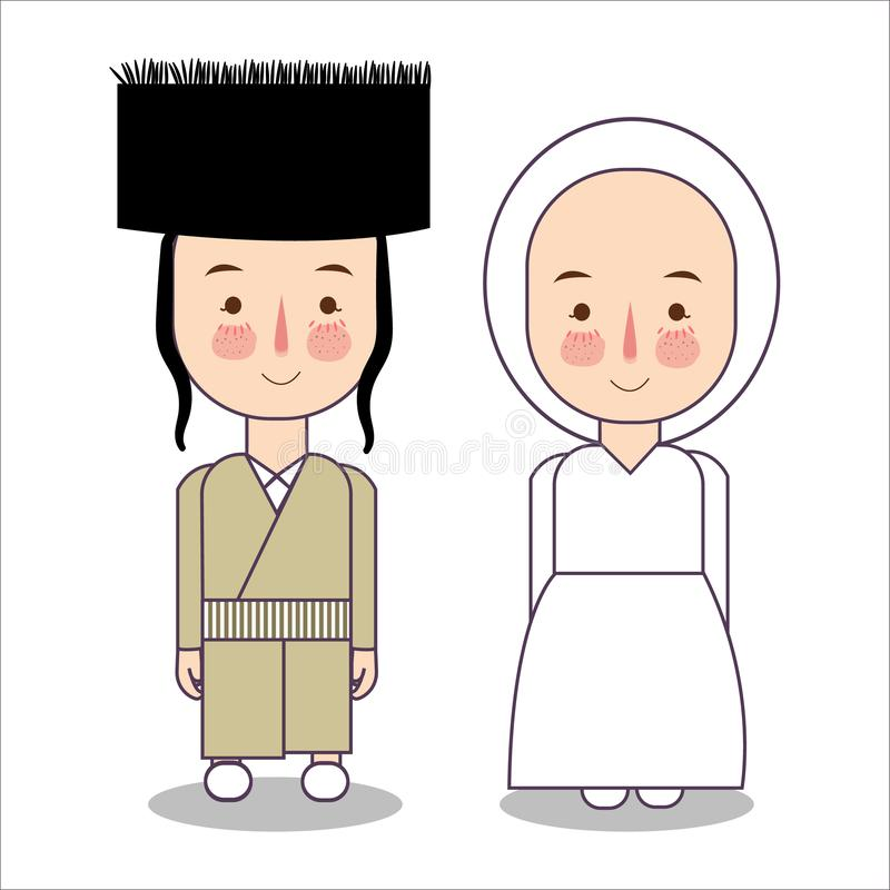 Orthodox jewish wedding clothes traditional national. Set of cartoon characters in traditional costume. Cute people stock illustration