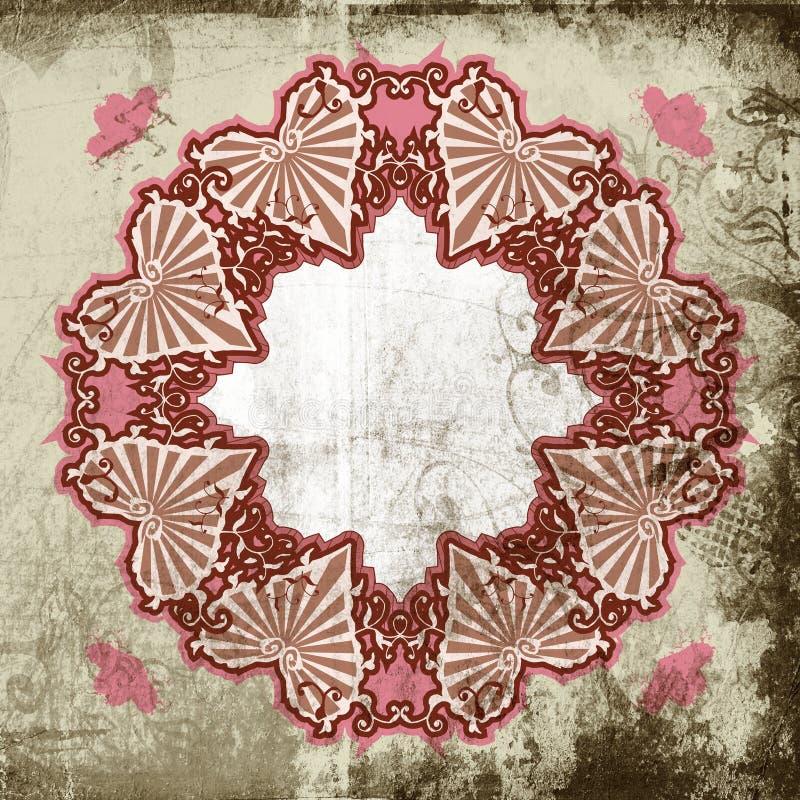 victorian för ramgrungehjärta stock illustrationer