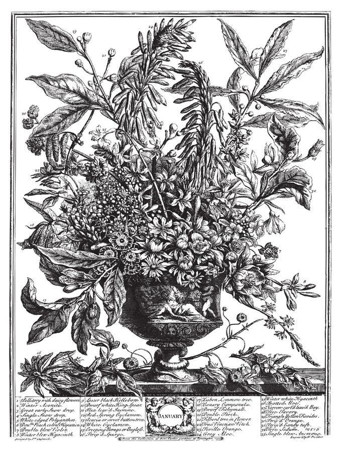 victorian för vektor för vase för bukettblommatext stock illustrationer