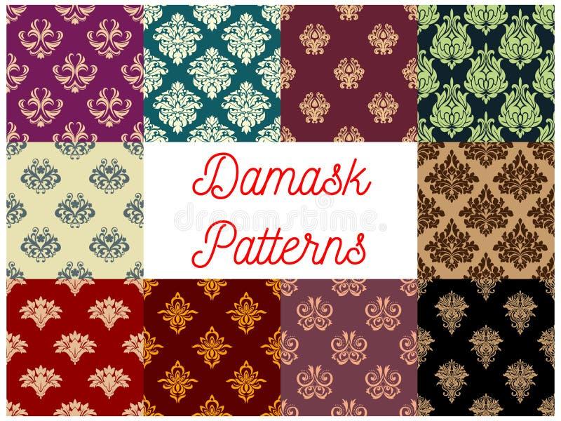 Victorian floral damask seamless pattern set. Flourish ornament with flower and leaf scroll motif. Wallpaper, interior textile, embellishment design vector illustration