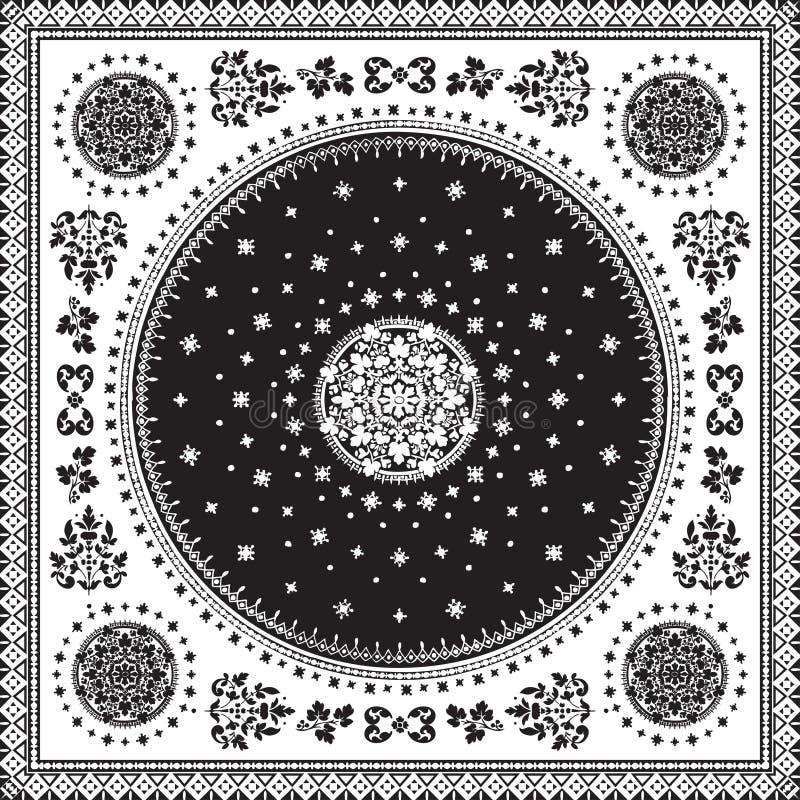 Victorian floral paisley medallion ornamental rug vector. Ethnic. Mandala towel frame. Vintage flower tile. Black and white. Textile, greeting business card royalty free illustration