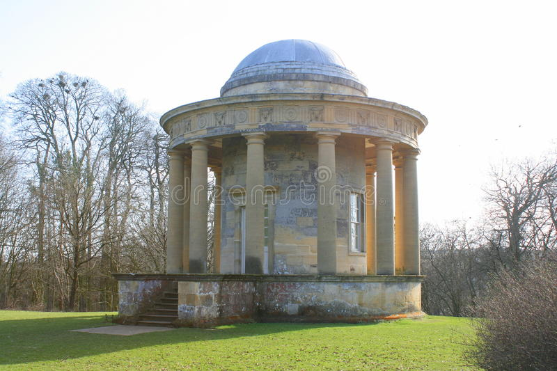 Victorian folly temple. A Victorian folly temple at Rievaulx Terrace in Yorkshire in England royalty free stock photo