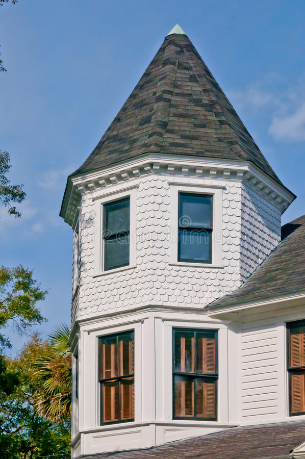 Victorian Gable. A Gable on a historic early 19 TH Century Victorian home as seen from Fort King Streeet in Ocala, Florida stock photo