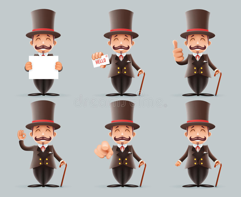 Victorian Gentleman Business Cartoon Characters Icons Different Actions Cute Man Set English 3d Isolated Background vector illustration