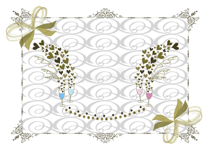 Victorian gold wedding frame stock illustration