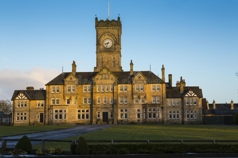 Victorian gothic style architecture. An example of victorian era gothic style architecture. This property was formerly a large mental hospital near Leeds stock photo