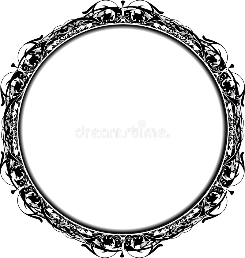 Victorian Grunge Circle Frame vector illustration