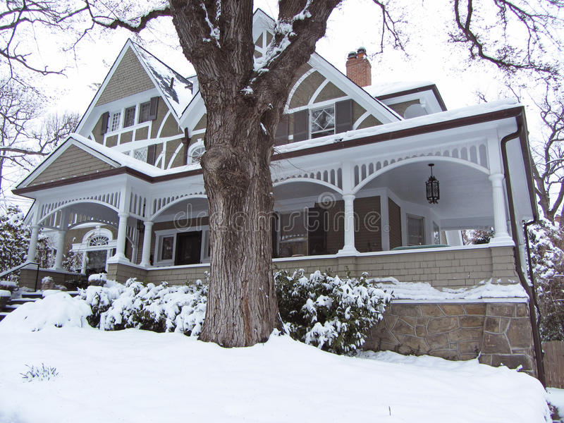 Victorian Home in Winter stock images