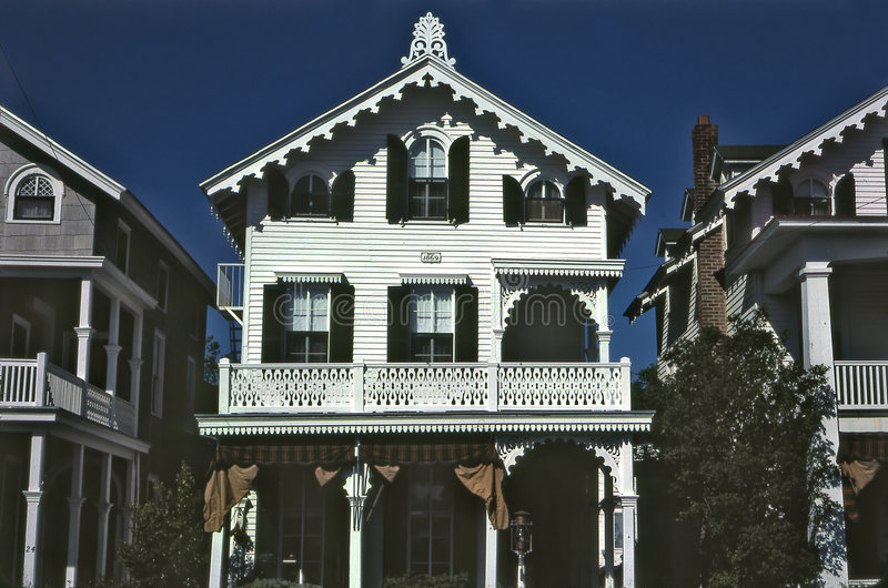 cape may Victorian homes stock photos
