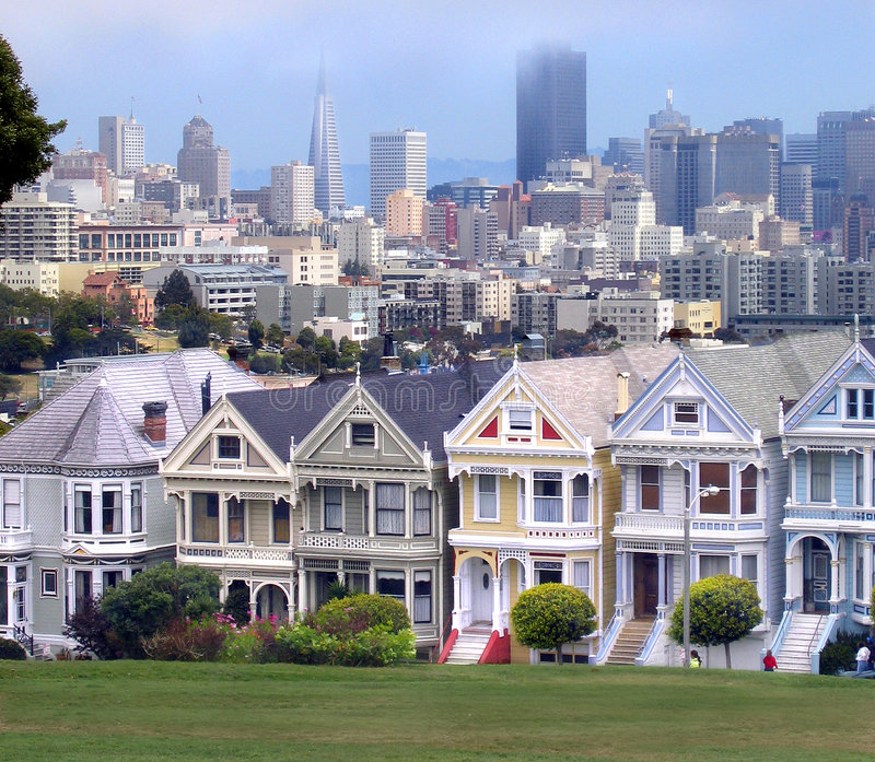 Download Victorian Homes And San Francisco Skyline Stock Image - Image: 229747