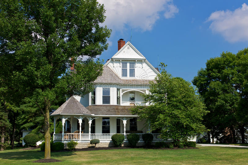 Victorian house with porch royalty free stock photography