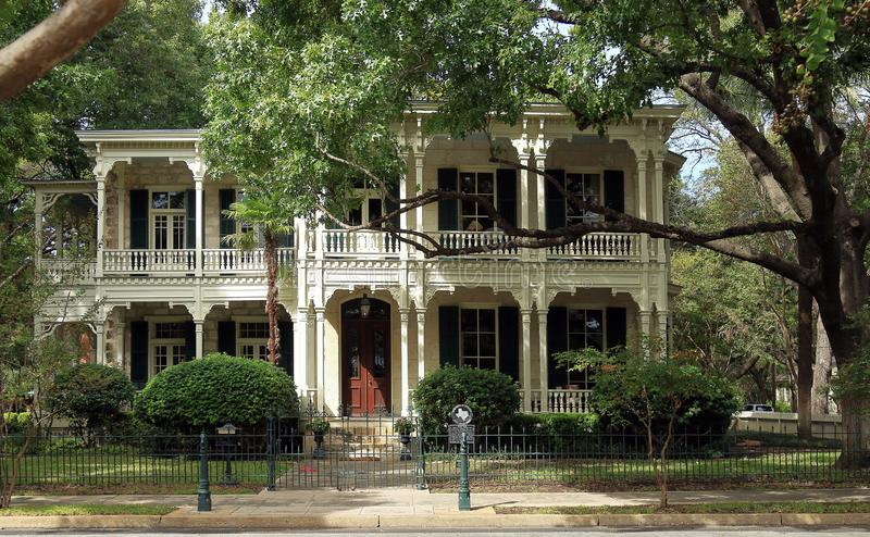 King William Historic District in San Antonio. Victorian House and Trees in the King William Historic District, San Antonio, Texas stock photo