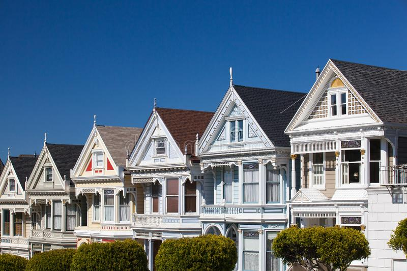 Victorian houses in San Francisco, USA royalty free stock images