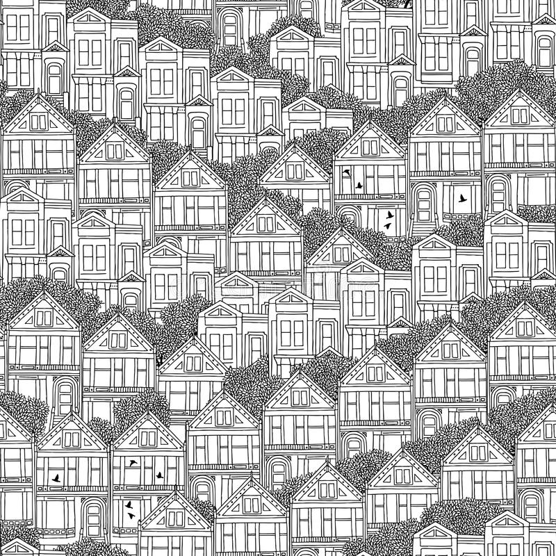 Free Victorian Houses Seamless Pattern Royalty Free Stock Photography - 73614337