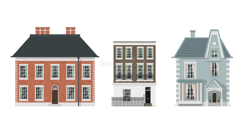 Victorian houses set vector illustration