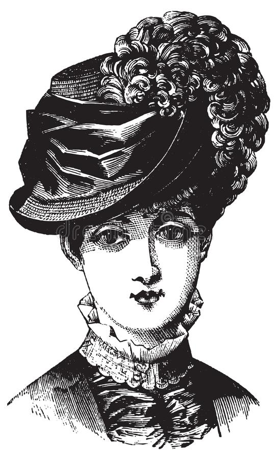 Victorian illustration of woman in hat. Victorian historical antique illustration of woman in hat in black and white with vector royalty free illustration