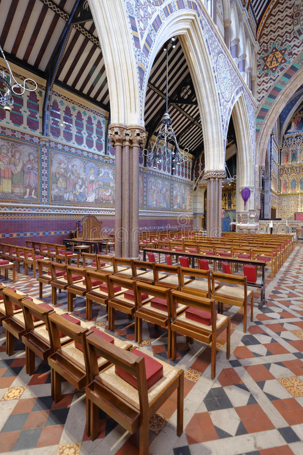 London, england: all saints Victorian church. interior royalty free stock photo