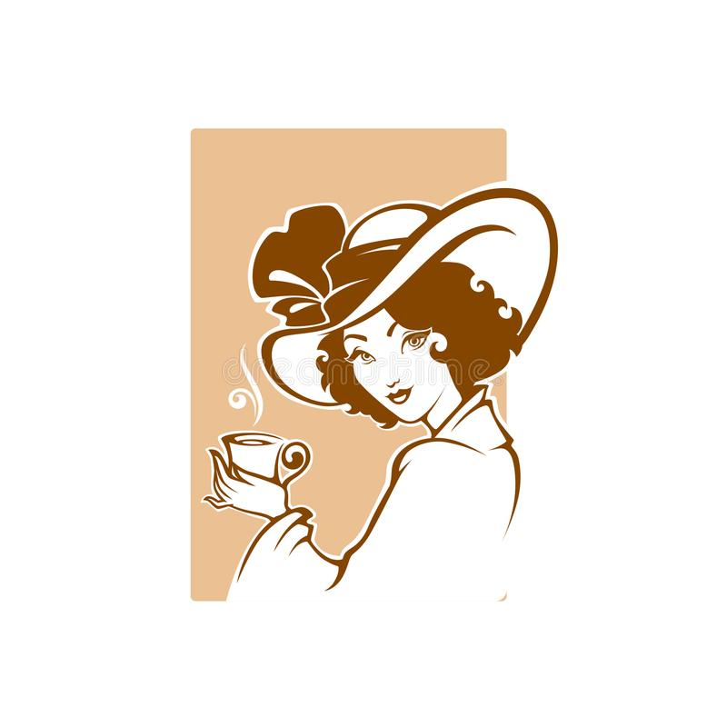 Victorian lady portrait, holding a cup of tee, coffee or chocolate, with cup of tea, logo for restaurant, cafe or tea company stock illustration