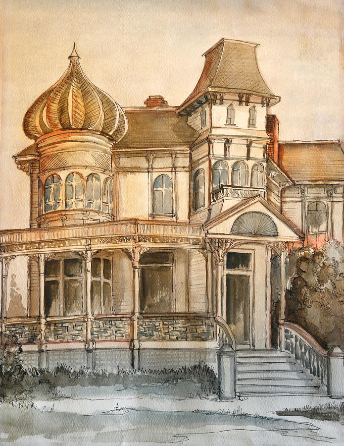 Victorian large romantic large drawing. stock photography