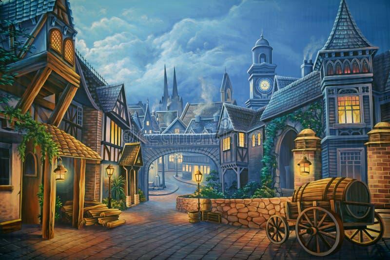 Victorian London. Theatre backdrop featuring a street scene in Victorian-era London