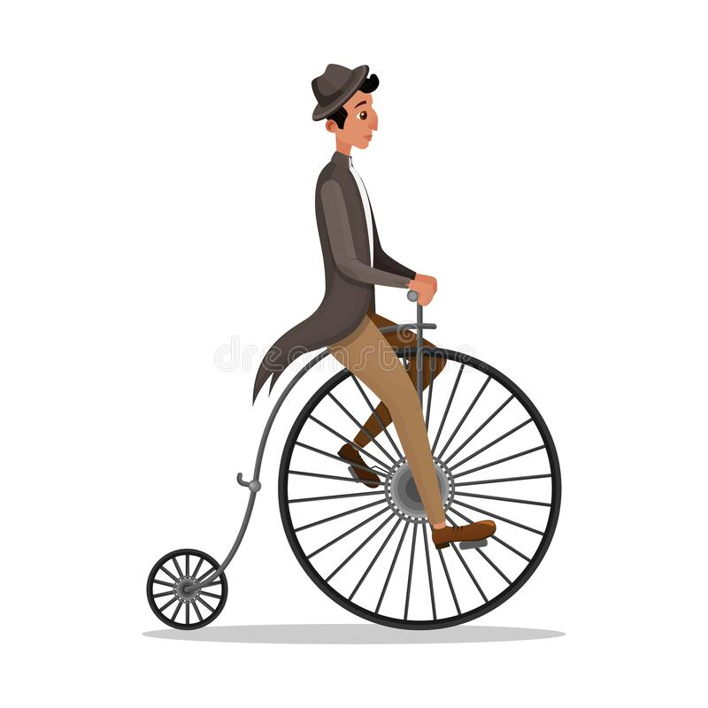 Vector Cartoon Illustration Of Man Riding A Penny-farthing Bicycle..  Royalty Free Cliparts, Vectors, And Stock Illustration. Image 93463653.
