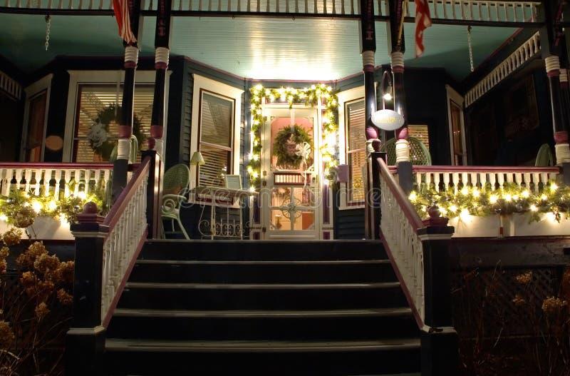 Victorian porch at Christmas stock photo