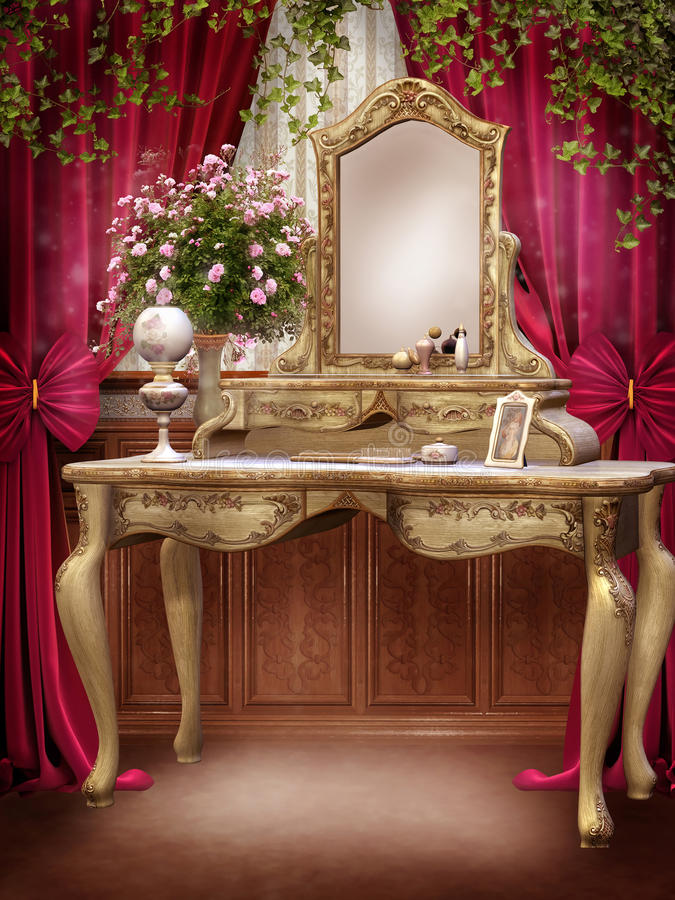 Victorian room with ivy stock illustration