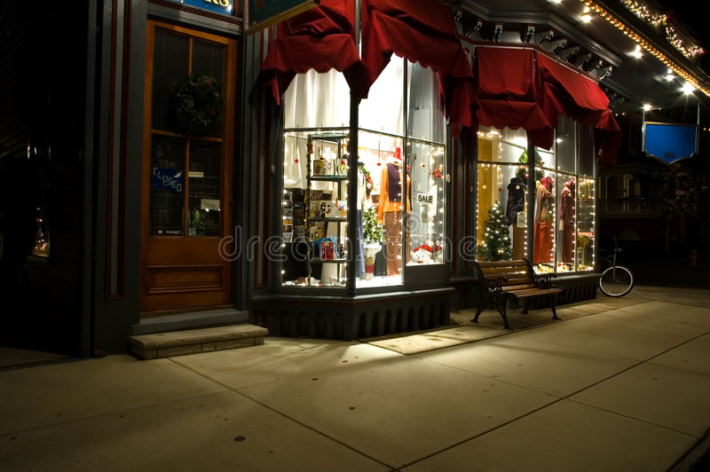 Victorian Storefront at Christmas royalty free stock photography