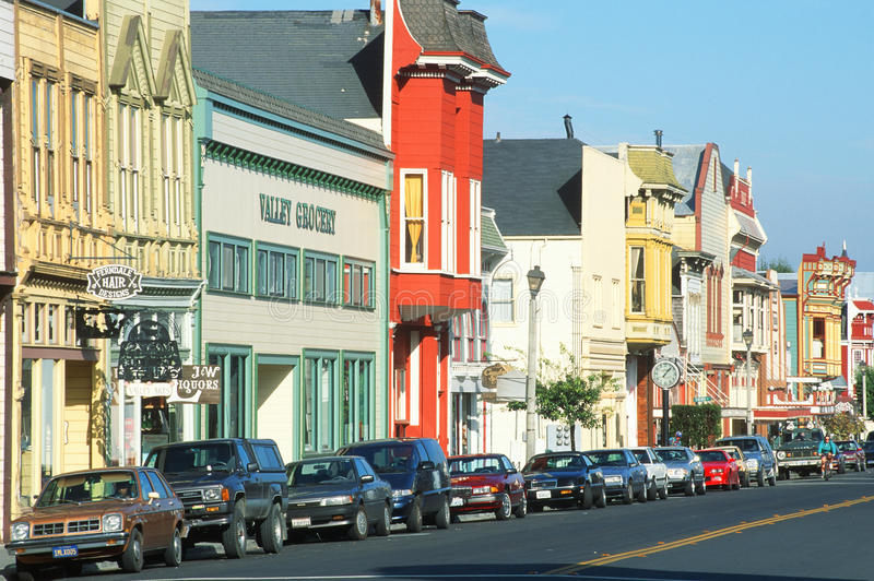 Victorian storefronts. In Ferndale, CA stock image