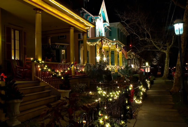 Victorian Street at Christmas royalty free stock photos