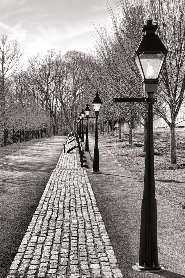 Victorian Street Reproduction with Streetlights royalty free stock image
