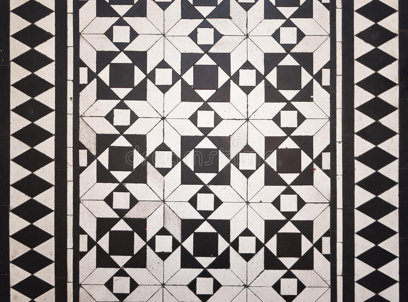 Victorian style floor tile pattern. With black and white stock photos