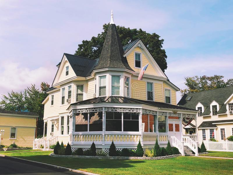 The Victorian style Gibson Woodbury House. Exterior on the main street in North Conway Village New Hampshire United States stock photo