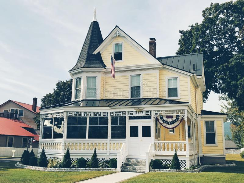 The Victorian style Gibson Woodbury House. Exterior on the main street in North Conway Village New Hampshire United States stock images