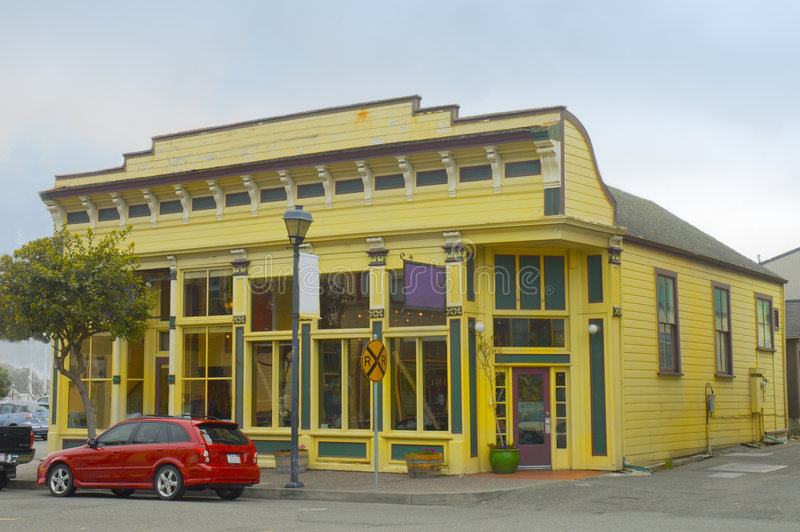 Victorian style store. Yellow store in Victorian style in California, USA stock image