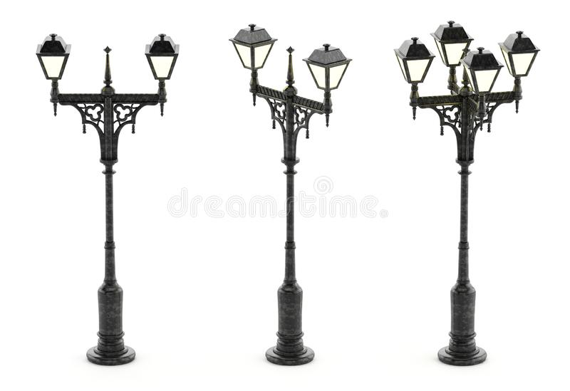 Victorian style street lamp isolated on white background. 3D illustration.  vector illustration