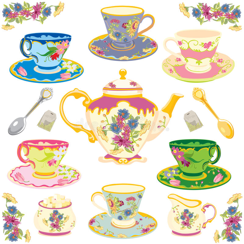 Victorian Tea Set. Selection of fancy victorian teacups , isolated on white