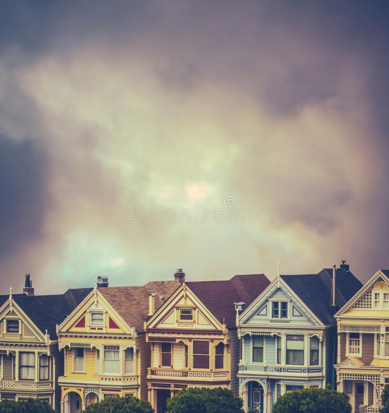 Victorian Terrace Houses. Beautiful Victorian Terrace Houses With Stormy Sky And Copy Space royalty free stock image
