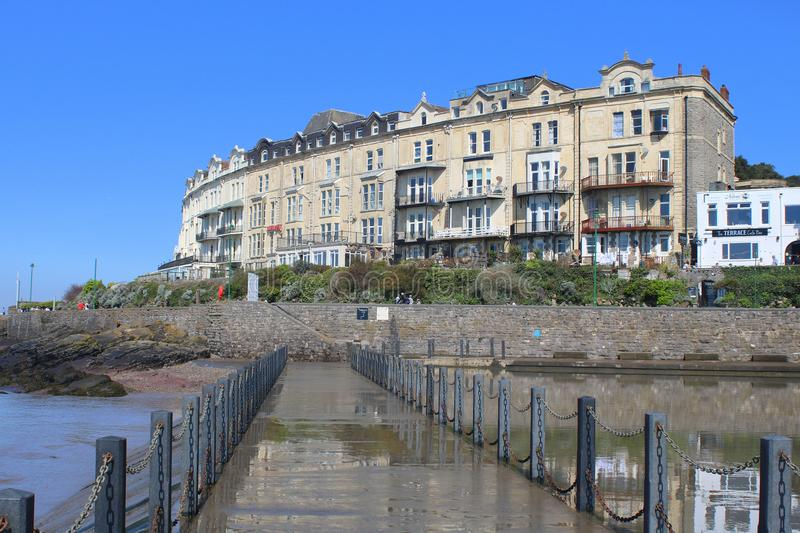 Victorian terrace houses and hotels. At Anchor Head in Weston Super Mare in North Somerset, England stock images