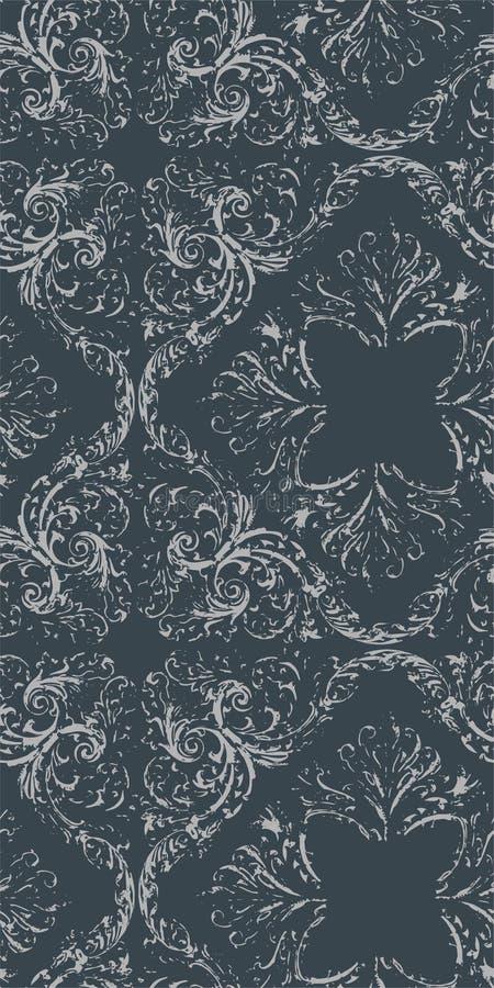 Victorian wallpapper Muster des sch?bigen Vektors des Zusammenfassungsdamastes nahtlosen lizenzfreie abbildung